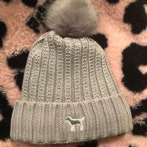 PINK Sherpa Lined Beanie Gray Bling